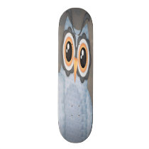 Blue Grey Owl Skateboard