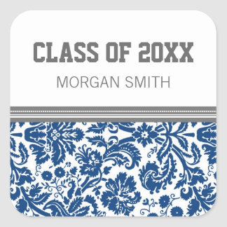 Blue Grey Pattern Graduation Custom Year Name Square Sticker
