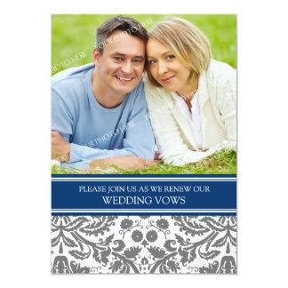 "Blue Grey Photo Wedding Vow Renewal Invitation 5"" X 7"" Invitation Card"