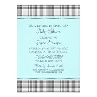 Blue Grey Plaid Custom Baby Shower Invitations