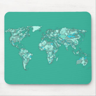 Blue grey planet drawing mouse pads