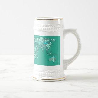 Blue grey planet drawing mug