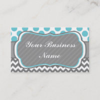 Blue, Grey,  Polka Dots and Chevron Business Card