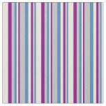 [ Thumbnail: Blue, Grey, Purple, and Beige Stripes Fabric ]
