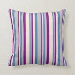 [ Thumbnail: Blue, Grey, Purple, and Beige Stripes Throw Pillow ]
