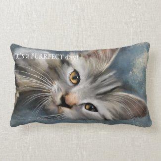 Blue Grey Purrfect Tabby Cat Pillow