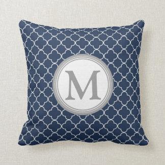 Blue Grey Quatrefoil Monogram Decorative Pillow