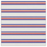 [ Thumbnail: Blue, Grey, Red, Dark Slate Blue, and White Lines Fabric ]