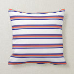 [ Thumbnail: Blue, Grey, Red, Dark Slate Blue, and White Lines Throw Pillow ]