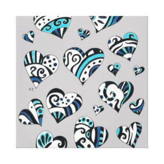 blue grey scribble hearts canvas print