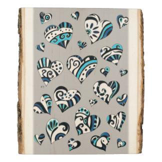 blue grey scribble hearts wood panel