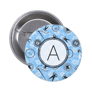 Blue Grey Sewing Pattern with Monogram 2 Inch Round Button