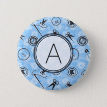 Blue Grey Sewing Pattern with Monogram Button