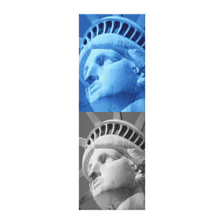Blue Grey Statue of Liberty Wrapped Canvas Canvas Print