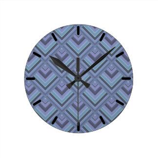 Blue-grey stripes scale pattern round clock