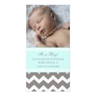 Blue Grey Template New Baby Birth Announcement Photo Card