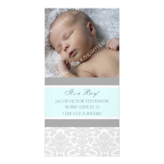Blue Grey Template New Baby Birth Announcement Photo Cards