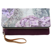 Blue Grey Vintage floral Hydrangea Flower pattern Clutch