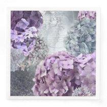 Blue Grey Vintage floral Hydrangea Flower pattern Paper Dinner Napkin