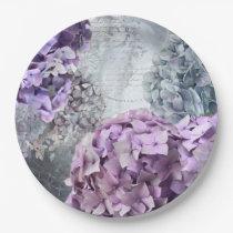 Blue Grey Vintage floral Hydrangea Flower pattern Paper Plate