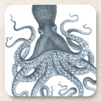 Blue Grey Vintage Octopus Illustration Beverage Coaster
