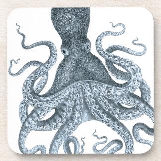 Blue Grey Vintage Octopus Illustration Beverage Coaster