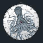 """Blue Grey Vintage Octopus Illustration Dart Board<br><div class=""""desc"""">Blue Grey Vintage Octopus Illustration</div>"""