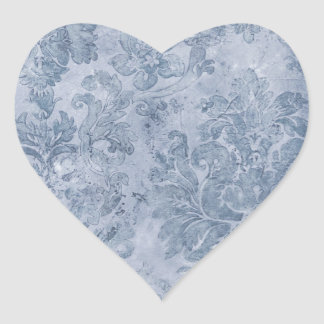 blue grey vintage wallpaper heart sticker