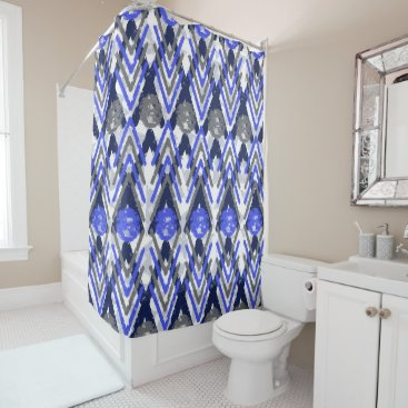 Aztec Themed Blue Grey Weathered Aztec Influenced Shower Curtain