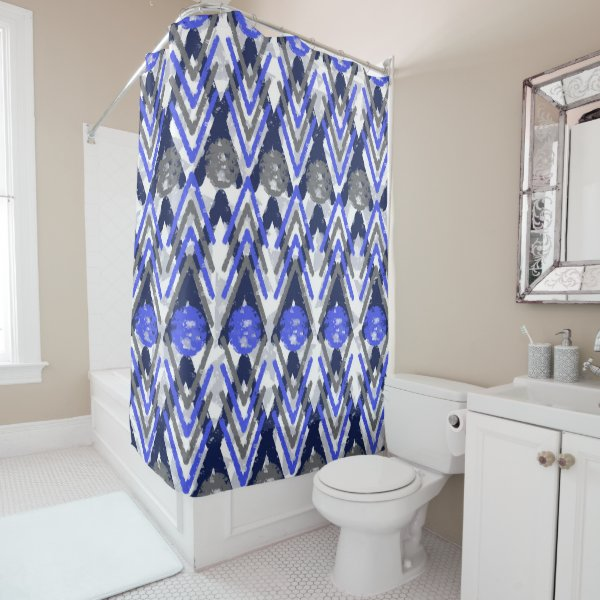 Blue Grey Weathered Aztec Influenced Shower Curtain
