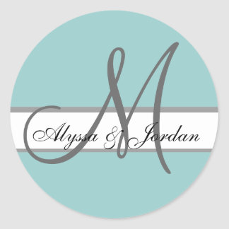 Blue Grey Wedding Stickers with Monogram Name Seal