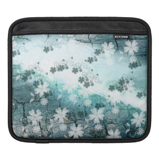 blue grey white black floral Mac Laptop sleeve