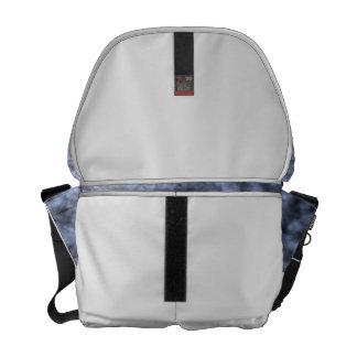 Blue grey white black mottled pattern design messenger bags