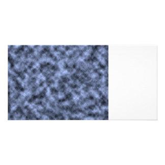 Blue grey white black mottled pattern design photo greeting card