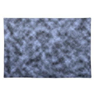 Blue grey white black mottled pattern design placemat