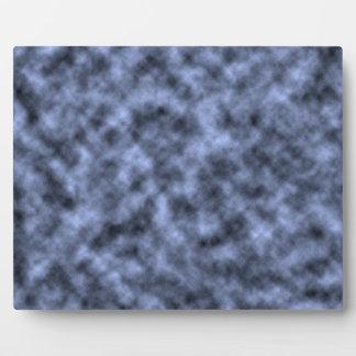 Blue grey white black mottled pattern design plaque