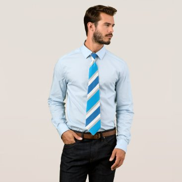 Professional Business Blue Grey White Striped Conservative Power Tie