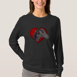 Blue Greyhound Face Red Heart Dog Shirt