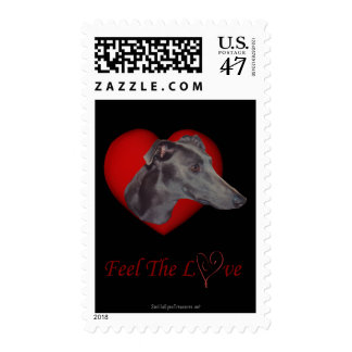 Blue Greyhound Hearts And Love Postage