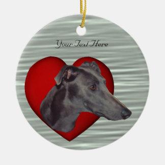Blue Greyhound Red Heart Dog Ornament