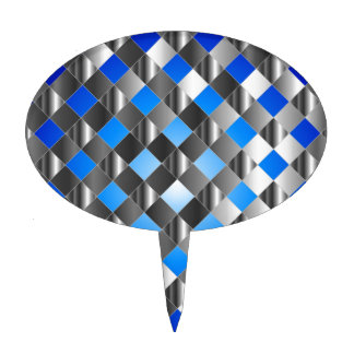 Blue grid background cake topper