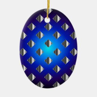 Blue grid background ceramic ornament