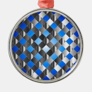 Blue grid background metal ornament