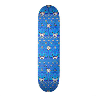 blue grid geometric skateboard