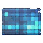 blue grid squares pattern iPad case