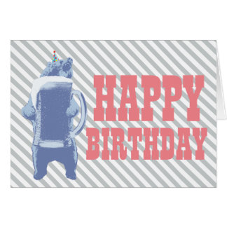 Blue Grizzly Bear & Beer Happy Birthday Card