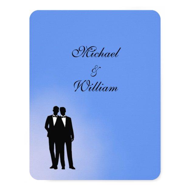 Blue Groom and Groom Gay Wedding Card