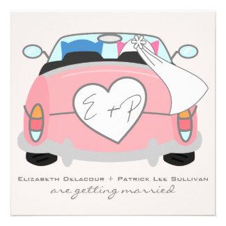 Blue Groom Owl Pink Bride Owl Wedding Invitation