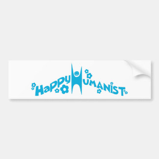 Blue Groovy Happy Humanist Bumper Sticker