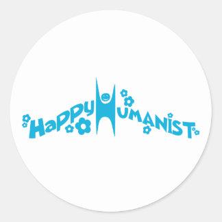 Blue Groovy Happy Humanist Classic Round Sticker